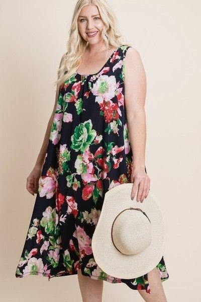 Plus Size Floral Bulgari Printed Tank Midi Dress With Asymmetrical Hem - Sassy Shelby's