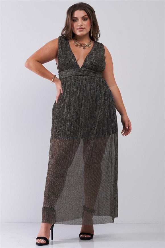 Plus Black & Gold V-neck Sleeveless Pleated Fabric Maxi Dress