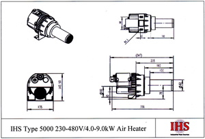 IHS Type 5000 480V/8.0kW Air Heater (Single Phase - With Electronics) IHS-102.184