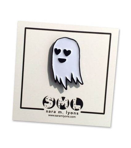 here is a super cute enamel pin of my signature lil happy ghost