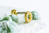 14K Gold Plated Stimulated Diamond Cubic Round Circle Ear Barbell Ball Stud Earring Piercing Stainless Steel