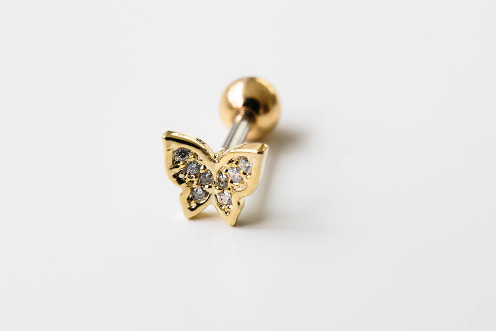 14K Gold Plated Stimulated Cubic Butterfly Barbell Ball Stud Earring Piercing Stainless Steel