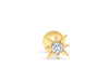 14k Gold Plated Simulated Diamond Cz Fire Sun Star Ear Barbell Ball Stud Earring Piercing