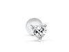 14k Gold Plated Simulated Diamond Cz Dainty Love Heart Ear Barbell Ball Stud Earring Piercing Stainless Steel