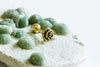 14k Gold Plated Simulated Rose Flower Ear Barbell Ball Stud Earring Piercing Stainless Steel