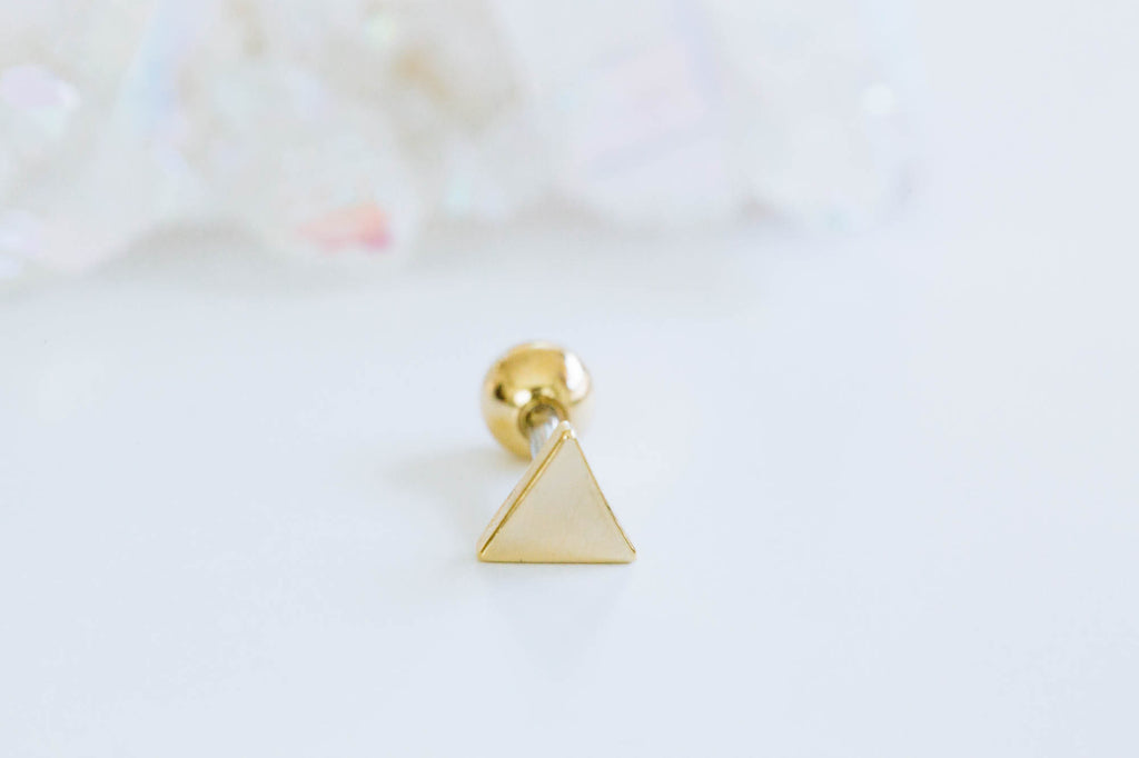 14k Gold Plated Simulated Solid Side Thick Triangle Ear Barbell Ball Stud Earring Piercing