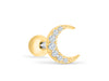 14k Gold Plated Simulated Slim Cubic Moon Ear Barbell Ball Stud Earring Piercing Stainless Steel