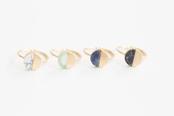 Adjustable Half Gemstone Ring