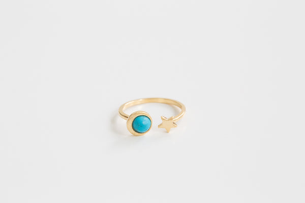 Open Turquoise Star Ring