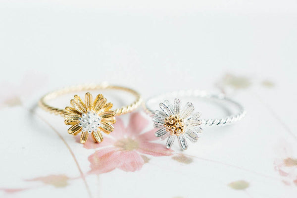 CZ Twisted Flower Ring-A