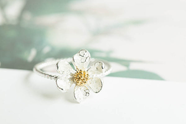 CZ Twisted Flower Ring-B