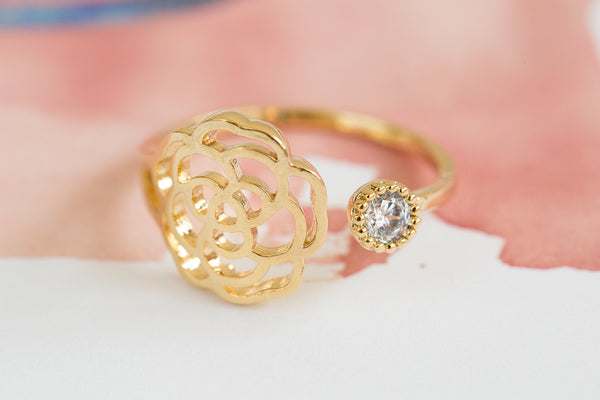 Open CZ Rose Ring