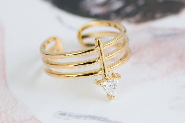 Adjustable CZ 3lines Arrow Ring