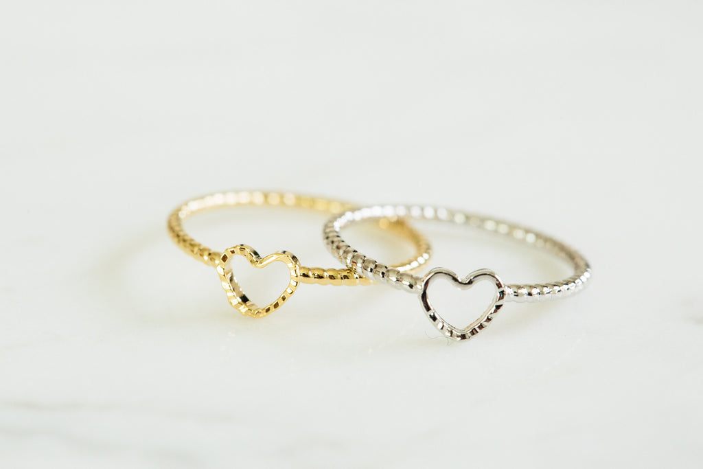 heart twisted knuckle ring-Aj