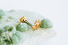 14k Gold Plated Simulated Moon Small Cubic Moon Ear Barbell Ball Stud Earring Piercing Stainless Steel
