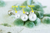 Surgical Stainless Steel White Simulated Shell Pearl Ear Barbell Ball Stud Earring Piercing