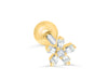 14K Gold Plated Stimulated Square Cubic Petal Flower Barbell Ball Stud Earring Piercing Stainless Steel
