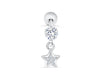 Simulated 316L Stainless Steel Dangling Diamond Cz Dainty Boho Gypsy Half Crescent Sailor Luna Moon Ear Studs Earring Piercing