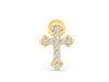 14k Gold Plated Simulated Cubic Curved Cross Ear Barbell Ball Stud Earring Piercing Stainless Steel