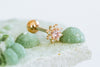14k Gold Plated Simulated Ruby White Violet Cubic Flower Ear Barbell Ball Stud Earring Piercing Stainless Steel