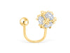 14k Yellow Gold Cubic Zirconia Round Ball Jewelry Tragus Cartilage Snug Rook Helix Lobe Eyebrow Circular Horseshoe Piercing Earring