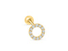 14k Gold Cubic Round Circle Pendant Barbell Ear Stud Piercing