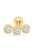 14k Gold Triple Round Cz Curved Bar Barbell Ear Stud Piercing