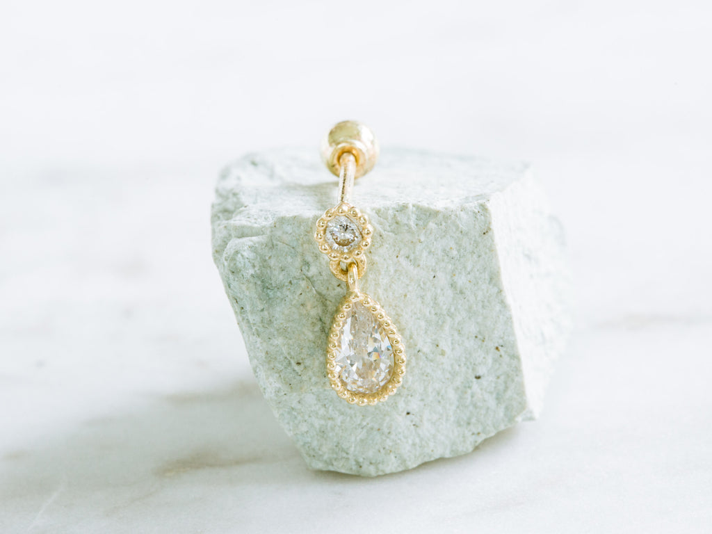 14k Gold Round Cubic Dangling Tear Cubic Barbell Ear Stud Piercing