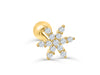 14k Gold Cubic Sharp Petal Flower Barbell Ear Stud Piercing