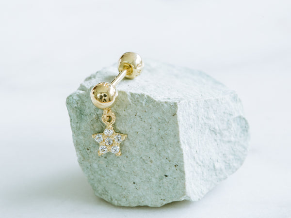 14k Gold Ball Dangling Cubic Star Barbell Ear Stud Piercing