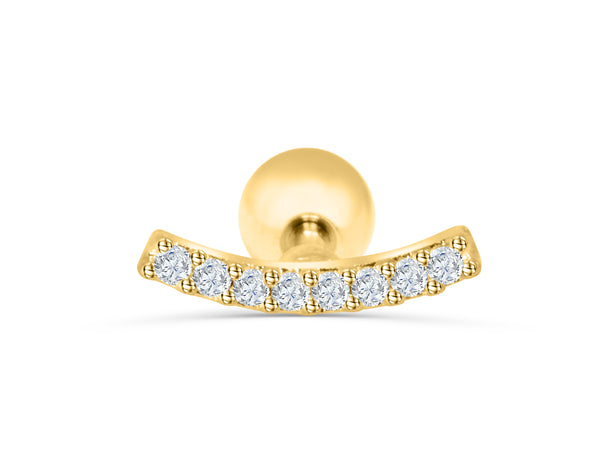 14K Real Solid Yellow Gold Long Large Simulated Diamond Cz Cubic Zirconia Lucky Modern Horizontal Curved Curve Square Bar Stick Ear Stud Earring Piercing For Women Girls Men