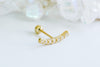 14k Gold Cubic Curved Stick Pendant Barbell Ear Stud Piercing