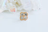 14k Gold Four Round Cubic Square Pendant Barbell Ear Stud Piercing