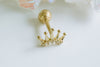 14k Gold Sharp Crown Barbell Ear Stud Piercing