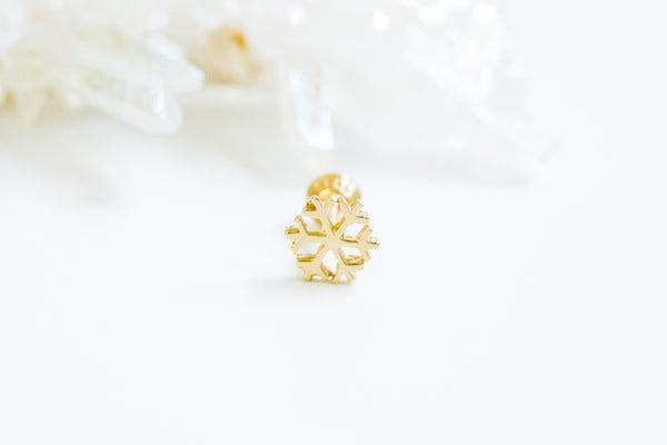 14k Gold Cartilage anti Tragus Forward Helix inner conch lobe ball barbell tongue nose snowflake earring piercing Jewelry