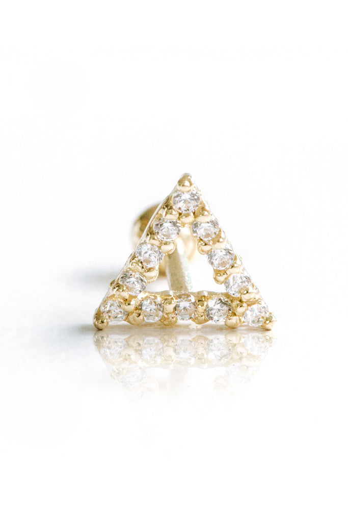 14k Gold Cubic Triangle Pendant Barbell Ear Stud Piercing