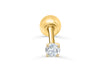 14K Real Solid Yellow Gold Simulated Diamond Cz Round Barbell Ball Ear Stud Post Earring Piercing For Women Girls