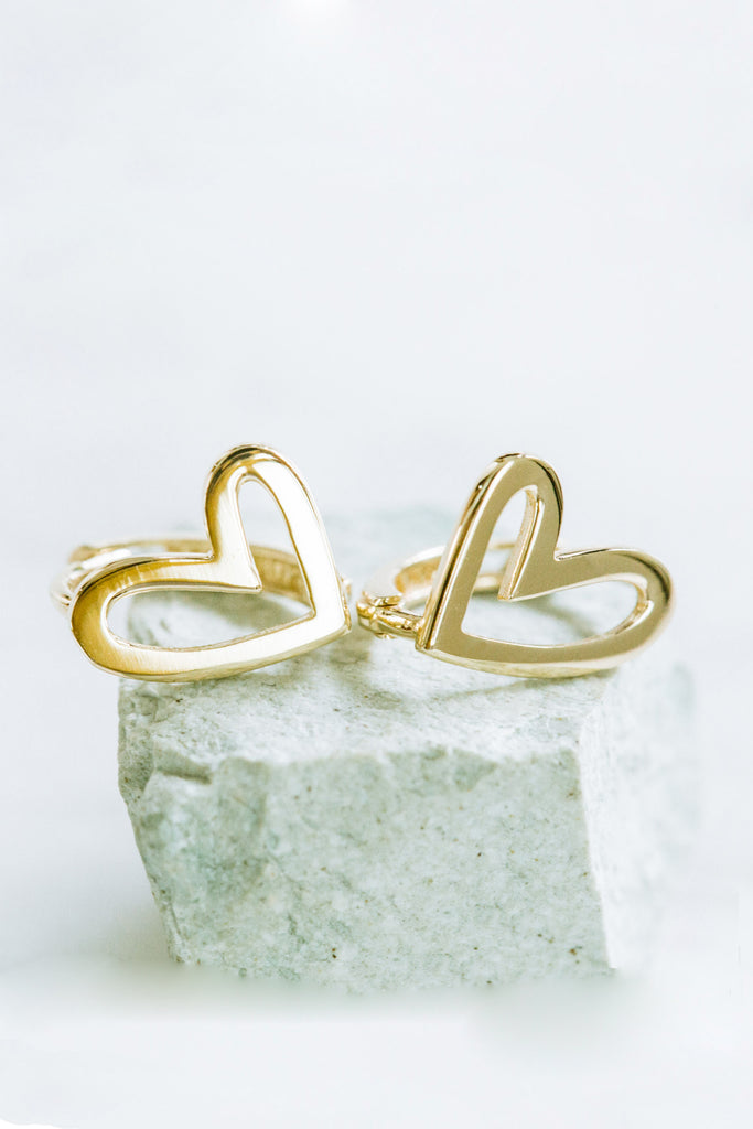 Open Round Heart Tragus Cartilage Helix Hoop Ring Piercing Earring 14K Solid Gold Jewelry