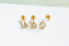 14k Gold Cartilage Round Cubic Internally Internal Threaded Labret