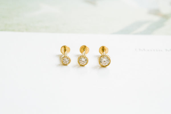 14k Gold Cartilage anti Tragus Forward Helix inner conch tongue nose internally Internal threaded ear stud cubic circle earring labret piercing Jewelry