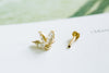 14k Gold Cartilage anti Tragus Forward Helix inner conch tongue nose internally Internal threaded ear stud three cubic leaves earring labret piercing Jewelry