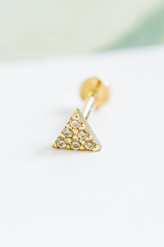 14k Gold Cartilage Cubic Triangle Internally Internal Threaded Labret