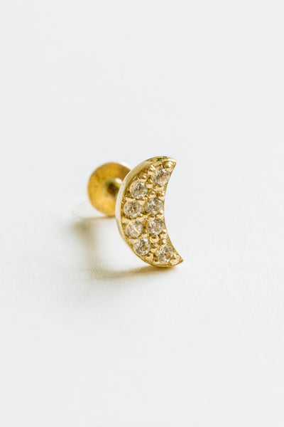 14k Gold Cartilage Cubic Moon Internally Internal Threaded Labret