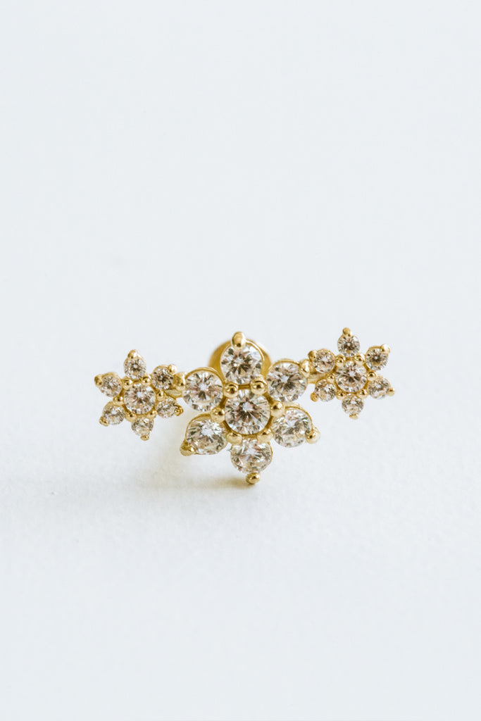 14k Gold Cartilage Cz Snowflakes Internally Internal Threaded Labret