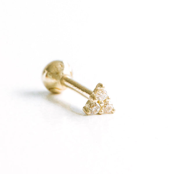 14k Gold Cartilage anti Tragus Forward Helix inner conch lobe ball barbell tongue nose lip eyebrow facial ear stud three star earring piercing Jewelry
