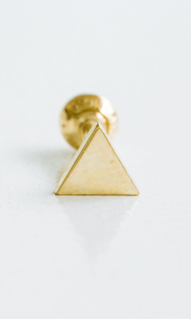 14k Gold Triangle Pendant Barbell Ear Stud Piercing