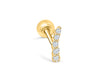14K Solid Yellow Gold Jewelry Cz Antler Unicorn Horn Ear Studs Post Ball Earring Piercing For Women Sensitive Ears