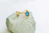 14k Gold Blue Cubic Octagon Barbell Ear Stud Piercing