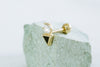 14k Gold Cubic Black Triangle Barbell Ear Stud Piercing