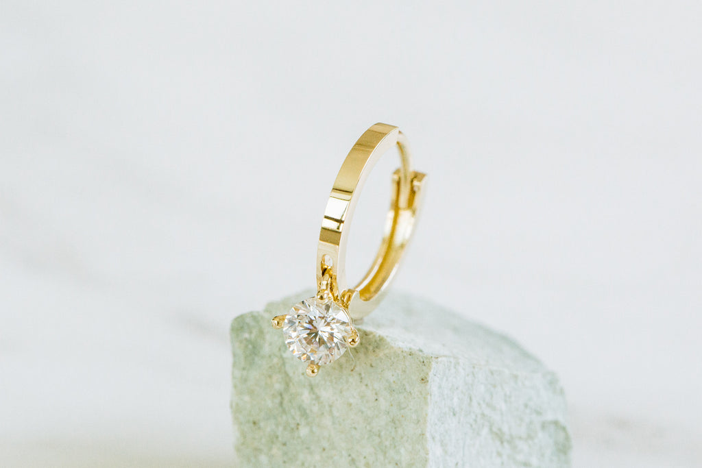 Cz Solitair Hoop Ring Piercing Earring 14K Solid Gold Jewelry